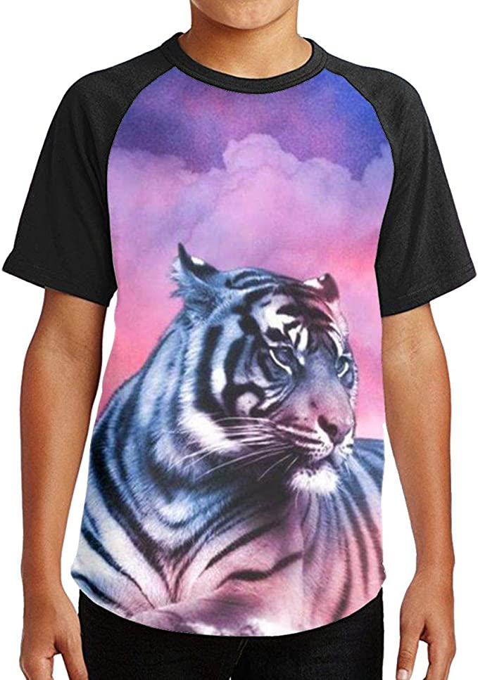 Art Tiger Youth Kids T Shirt 3D Printed Short Sleeve Crew Neck Tees Shirts for Boys Children