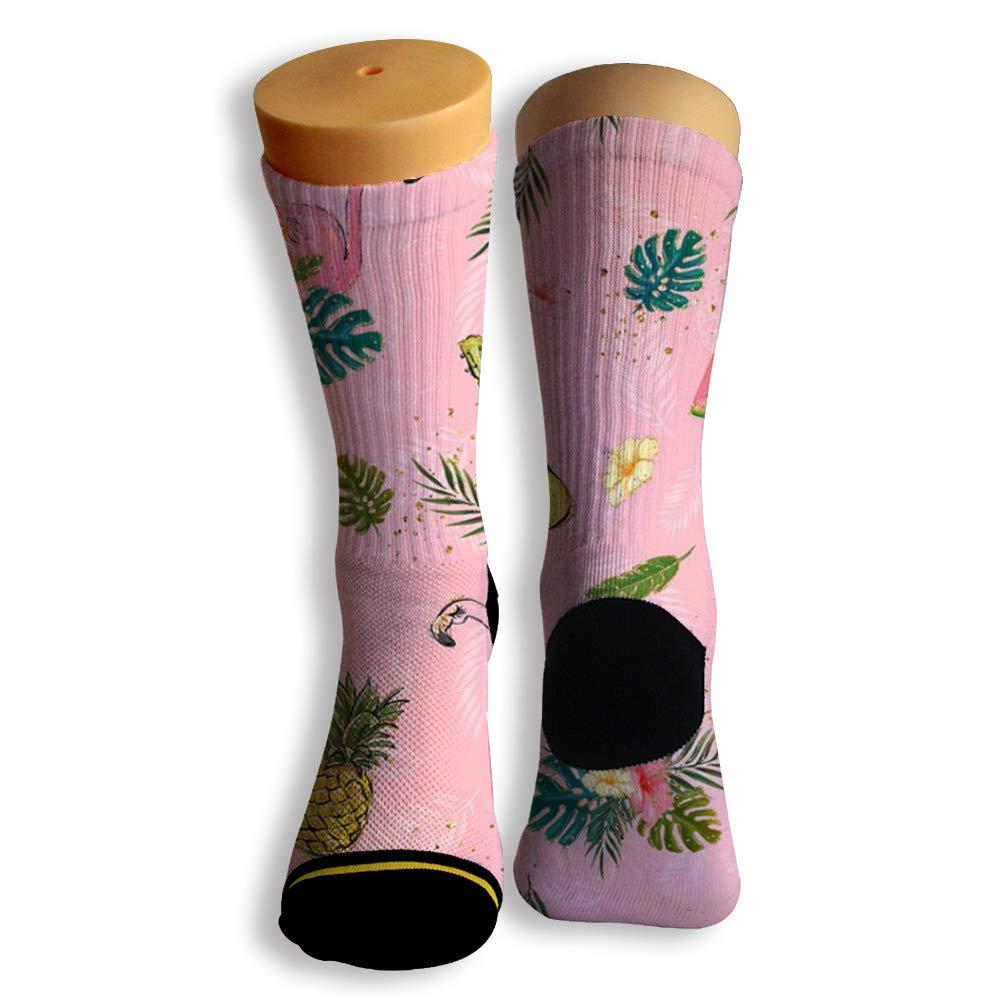 Basketball Soccer Baseball Socks by Potooy Hot Flamingos Graffiti 3D Print Cushion Athletic Crew Socks for Men Women