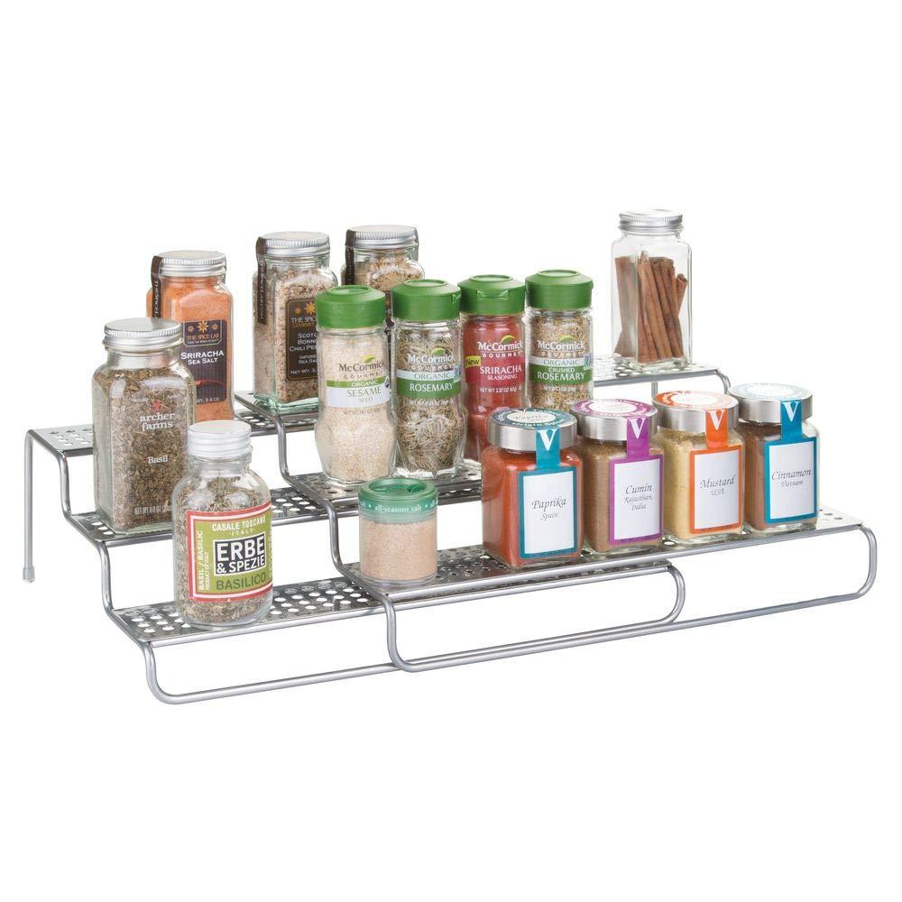 "mDesign Adjustable, Expandable Kitchen Wire Metal Storage Cabinet, Cupboard, Food Pantry, Shelf Organizer Spice Bottle Rack Holder - 3 Level Storage - Up to 25"" Wide - Silver"