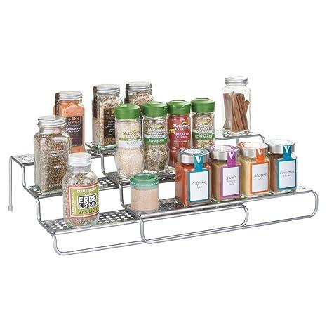mDesign Gewürzregal ausziehbar – vielseitige Gewürzablage für Ordnung im  Küchenschrank oder auf der Küchenablage – voll ausgezogen 2 Gewürzregale ...