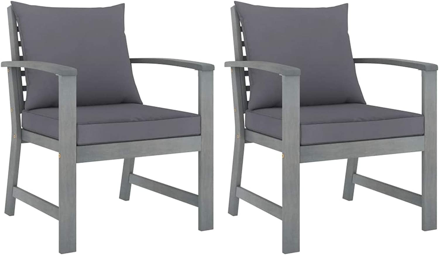 Tidyard 2 Piece Garden Chairs with Cushion Acacia Wood Armchair Wooden Outdoor Dining Chair Patio Balcony Backyard Outdoor Furniture 23.8 x 23.8 x 31.9 Inches (W x D x H)