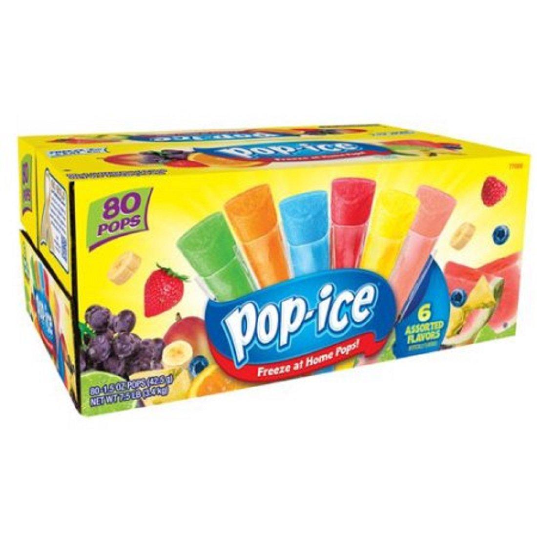 Pop-Ice Freezer Pops, Tropical Flavors, 1.5 Fl Oz, 80 Count