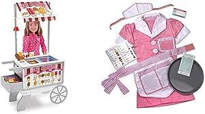 Melissa & Doug Snacks & Sweets Food Cart & Waitress Role Play Costume Set