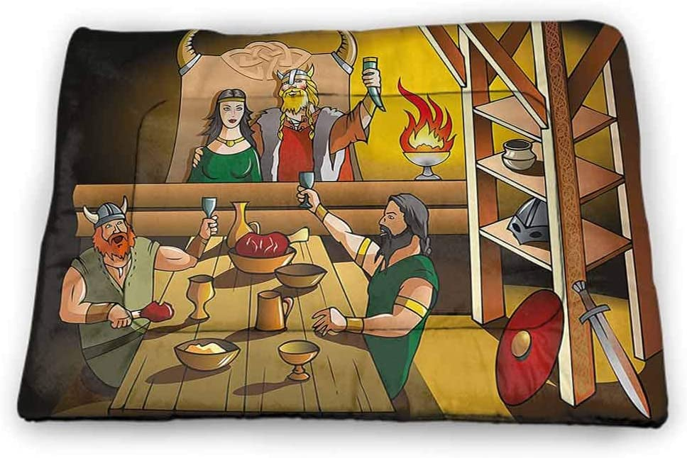 Large Pet Food Mat Cartoon Washable Puppy Pad King and Queen Feasting with Brave Warriors Ancient Scandinavia Medieval Historical 40 x 27 inch Multicolor