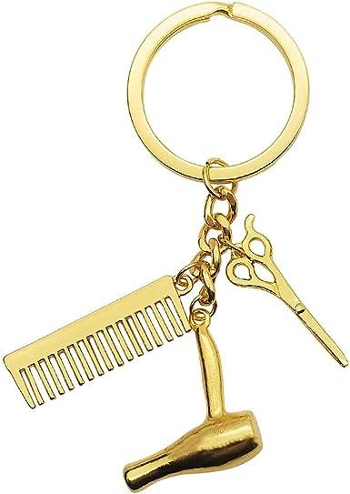 Hairdresser Hair Dryer Scissor Comb Keychain Creative Key Ring Jewelry Gifts