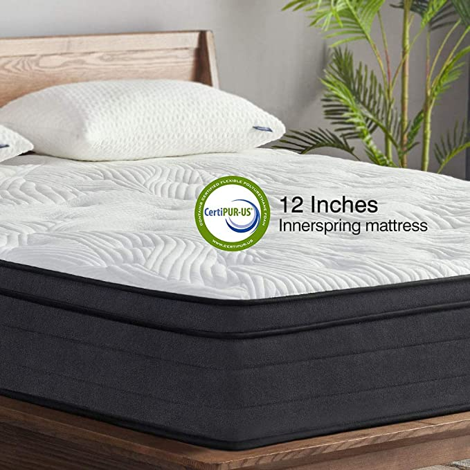 Amazon.com: Sweetnight King Mattress in a Box - 12 Inch Plush Pillow Top Hybrid Mattress, Gel Memory Foam for Sleep Cool, Motion Isolating Individually Wrapped Coils, King Size, Twilight: Furniture & Decor