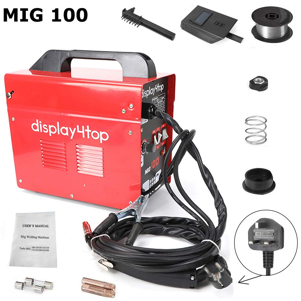 Display4top Professional Mig 100 Welder Gasless 100 Amp 230V No Gas with Mask & Welding Weld Wire with Brush/Tool Accessories,Fan Cooling,Red (MIG 100 Standard English) FOBUY