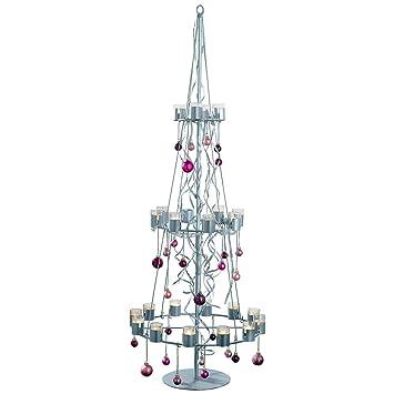 Weihnachtsbaum Metall.Pureday Teelichthalter Weihnachtsbaum Metall Glas Ca 170 Cm Hoch Silberfarben