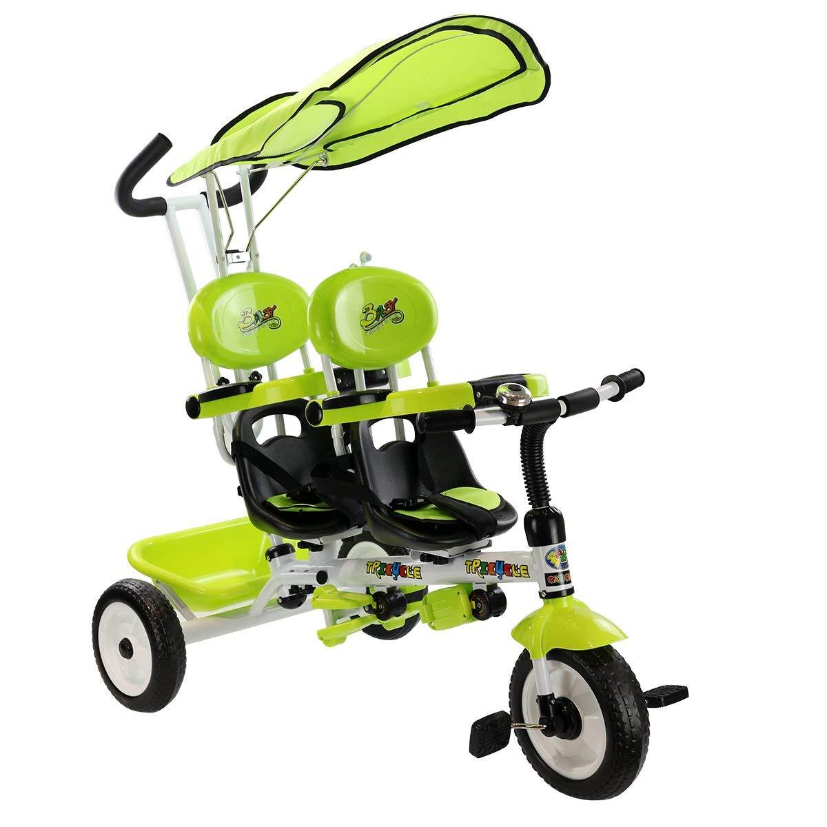 Triciclo para gemelos Costway Verde