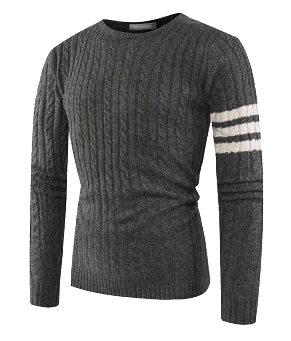 ouxiuli Mens Crewneck Long Sleeve Cable Knitted Slim Fit Pullover Casual Sweater