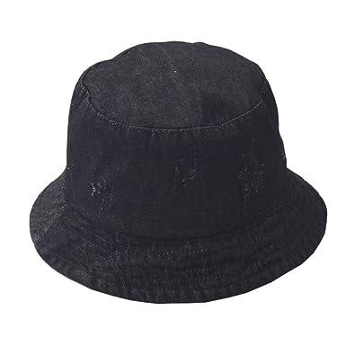 248405284c0 ACVIP Women s Distressed Ripped Denim Bucket Sun Hat Packable (Black ...