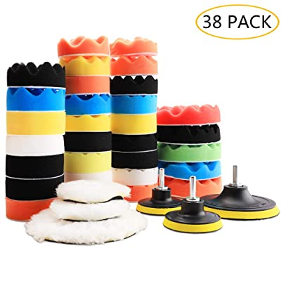"Benavvy 38pcs Polishing Pad Kit, 2 in 1 Car Foam Drill,7-5"" & 31-3"" Buffing Pads car Care Polisher Waxing Polishing: Automotive"