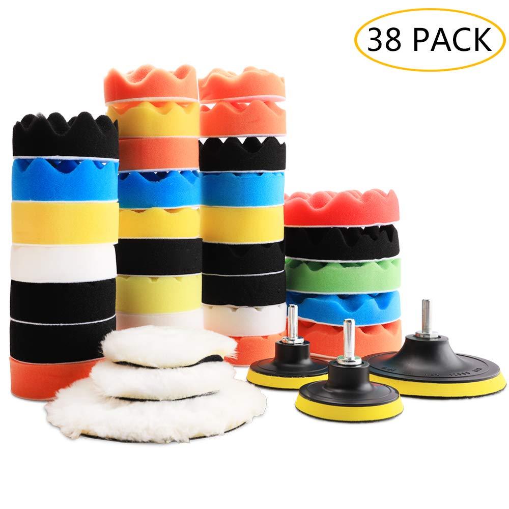 Benavvy 38pcs Polishing Pad Kit, 2 in 1 Car Foam Drill,7-5'' & 31-3'' Buffing Pads car Care Polisher Waxing Polishing by Benavvy (Image #1)