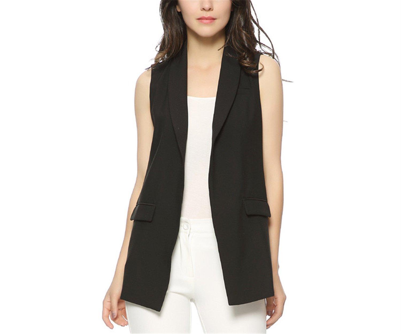 Caseminsto Women Fashion Elegant Office Lady Pocket Coat Sleeveless Vests Jacket Outwear Casual Brand Black M