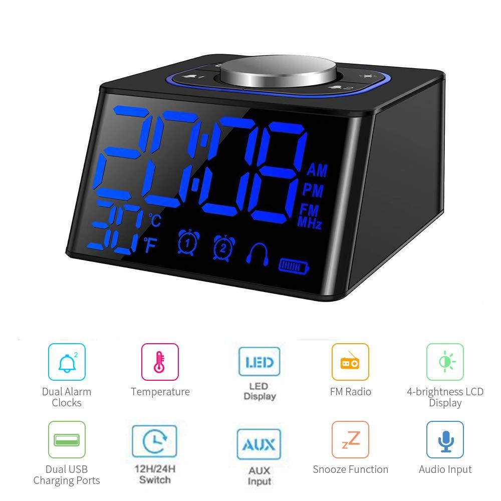 Radio Reloj Despertador,Radio FM Digital Pantalla LCD Regulable y Termómetro de Interior, Función Snooze, Dual Puerto de Carga USB para teléfonos ...
