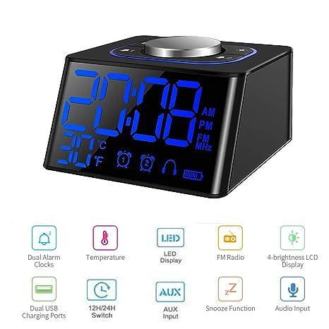 Radio Reloj Despertador,Radio FM Digital Pantalla LCD Regulable y Termómetro de Interior, Función