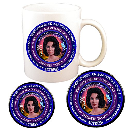 Elizabeth Taylor Actress Cup + Pin + Magnet Astrology Pisces Zodiac Water Monkey