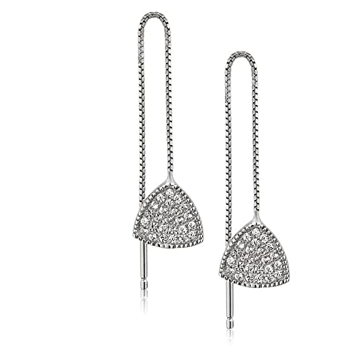 1e8f70de90fa Rhodium Plated 925 Sterling Silver Cubic Zirconia CZ Rounded Triangle Long  Threader Dangle Earrings