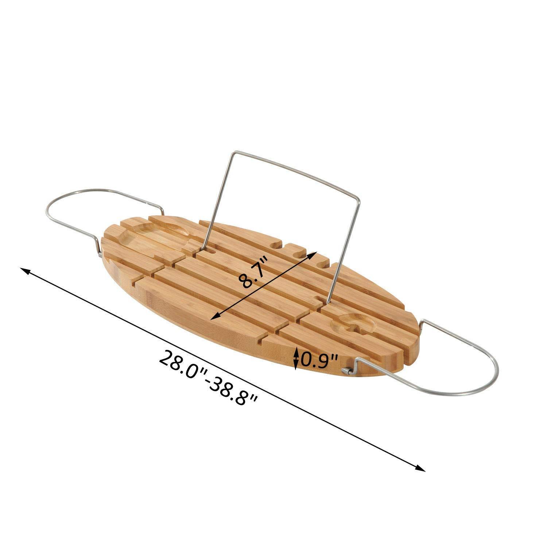 RubyShop724 Bamboo and Stainless Steel Bathtub Bath Shelf Expandable Tray