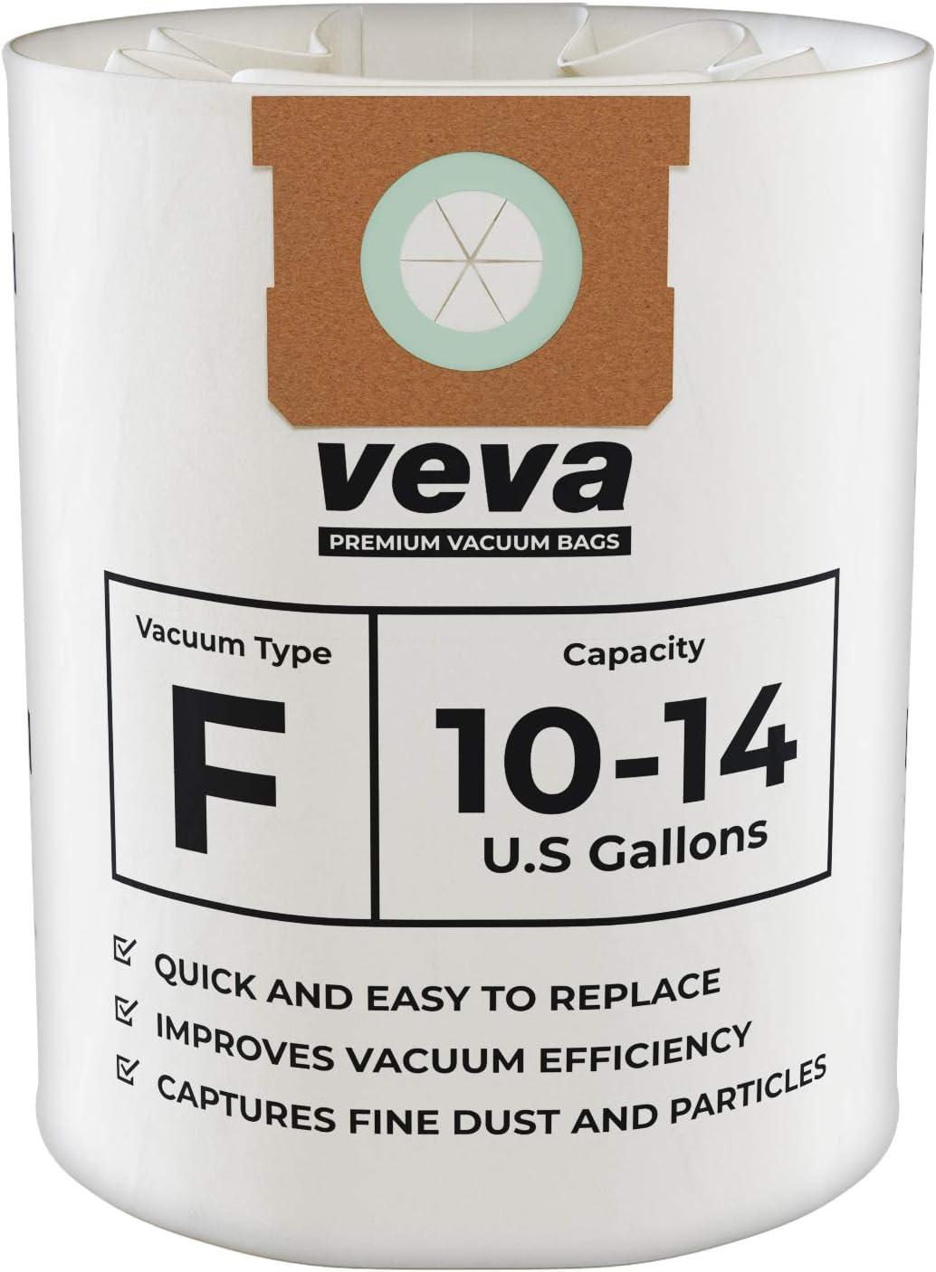 VEVA 15 Pack Premium Vacuum Filter Bags Type F 9066200 Work with Shop Vac 10-14 Gallon Vacuum, Part # SV Shopvac Shop-Vac 90662
