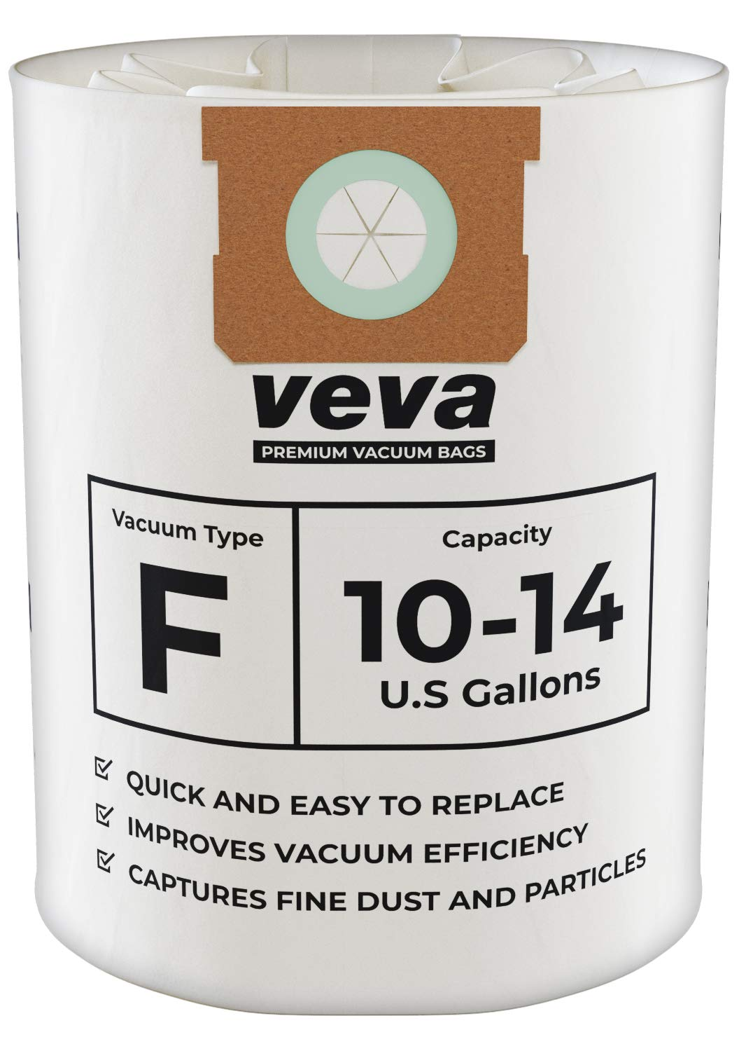 VEVA 15 Pack Premium Vacuum Filter Bags Type F 9066200 Work with Shop Vac 10-14 Gallon Vacuum, Part # SV 90662 by VEVA