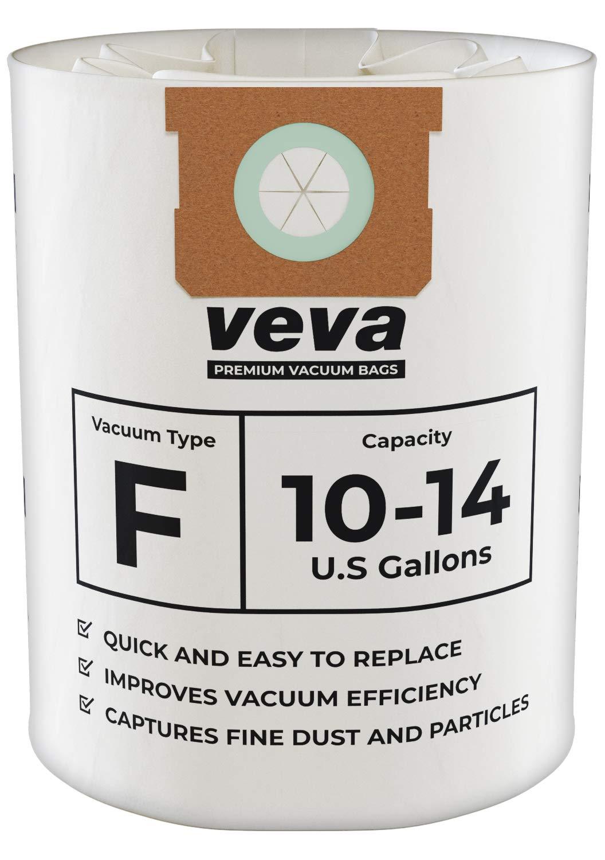 VEVA 15 Pack Premium Vacuum Filter Bags Type F 9066200 Work with Shop Vac 10-14 Gallon Vacuum, Part # SV 90662