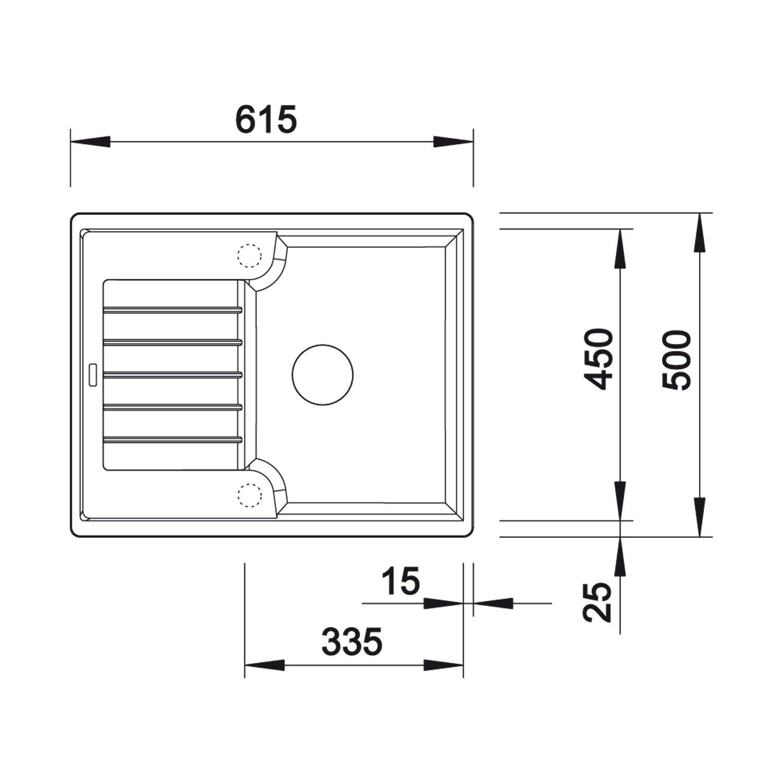 1 senos, 335 x 450 mm, 19 cm, 615 mm, 190 mm, 500 mm Fregadero BLANCO ZIA 40 S