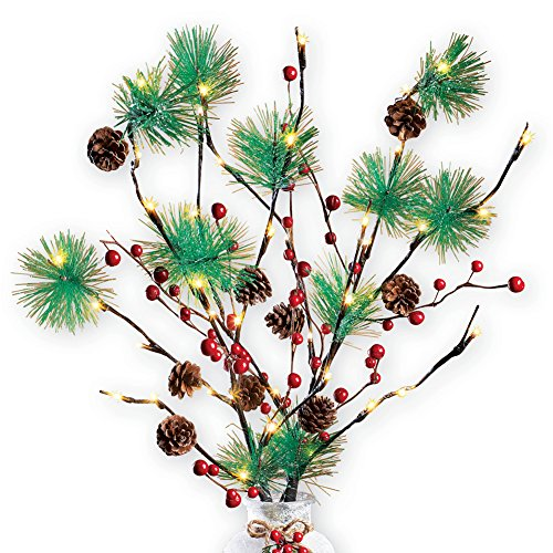 Lighted Pine Twig Branches Set - Battery Operated