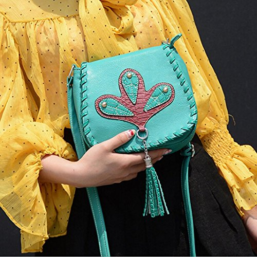 ESAILQ cuir à en Glands téléphone féminine Sac de épaule Mode bandoulière Messenger Vert Sac YrtrwZq