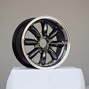 4 PCS ROTA RB WHEELS 15X7 PCD:4x108 OFFSET: 30 HB:73 HYPERBLACK WITH POLISH LIP WITH SMALL CAPS (WILL NOT FIT ALFA ROMEO)