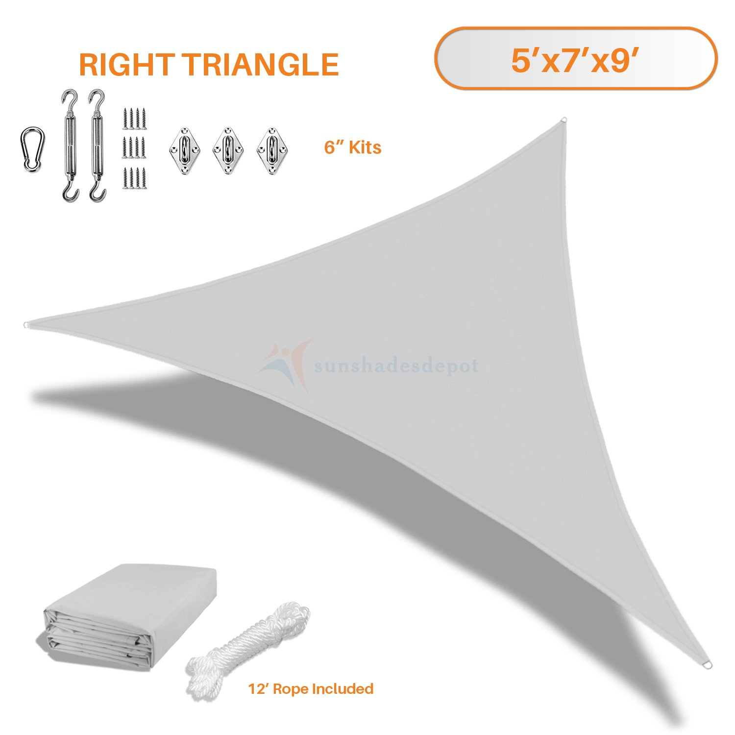Sunshades Depot 5x7x9 Right Triangle Waterproof Knitted Shade Sail With 6 inch Kit Curved Edge Light Gray/Light Grey 220 GSM UV Block Shade Fabric Pergola Carport Awning Canopy Replacement Awning