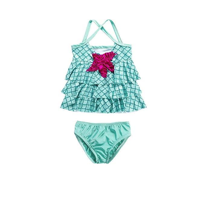 Amazon.com: CCSDR - Bañador para niñas pequeñas, diseño de ...