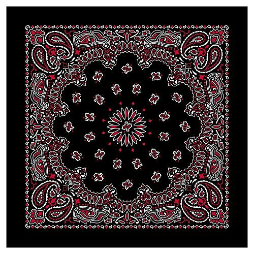 "100% Cotton Western Paisley Bandanas (22"" x 22"") Made in USA - Red and White on Black Single Piece 22x22 - Use For Handkerchief, Headband, Cowboy Party, Wristband, Head Scarf - Double Sided Print -"