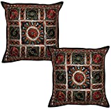 Indian Handmade Mirror Embroidery Work Design Cotton Cushion Cover 16 X 16 Inches Set Of 2 Pcs