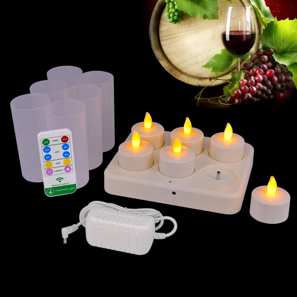HL Flameless Rechargeable Tealights, Flickering Led Candle Light, 77 Hours Lasting with Remote for Centerpiece Night Clubs Spas Wedding Party Decorations (Yellow, 6 Pack)