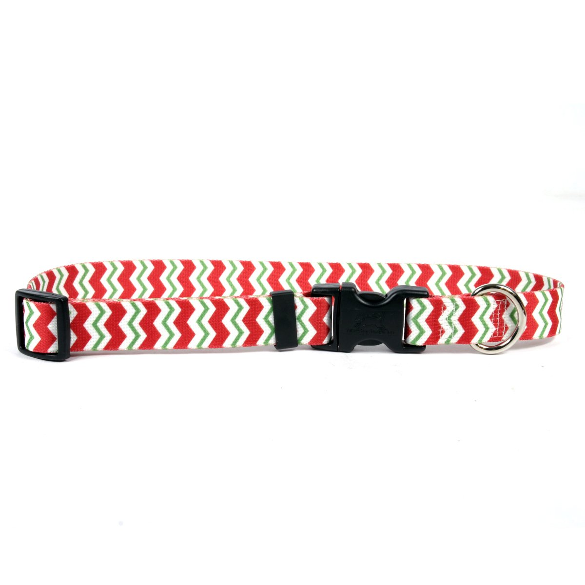 Peppermint Chevron Large 18\ Peppermint Chevron Large 18\ Yellow Dog Design Peppermint Stick Chevron Stripes Dog Collar with ID Tag System-Large-1  Neck 18 to 28