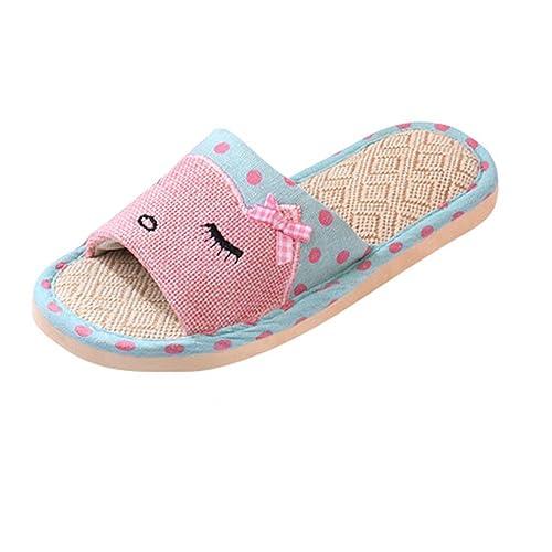 katliu Sommer Atmungsaktiv Hausschuhe Pantoffeln Rutschfest Cartoon Indoor Slippers Home Schuhe Für Herren Damen Kinder,Pink 36/37