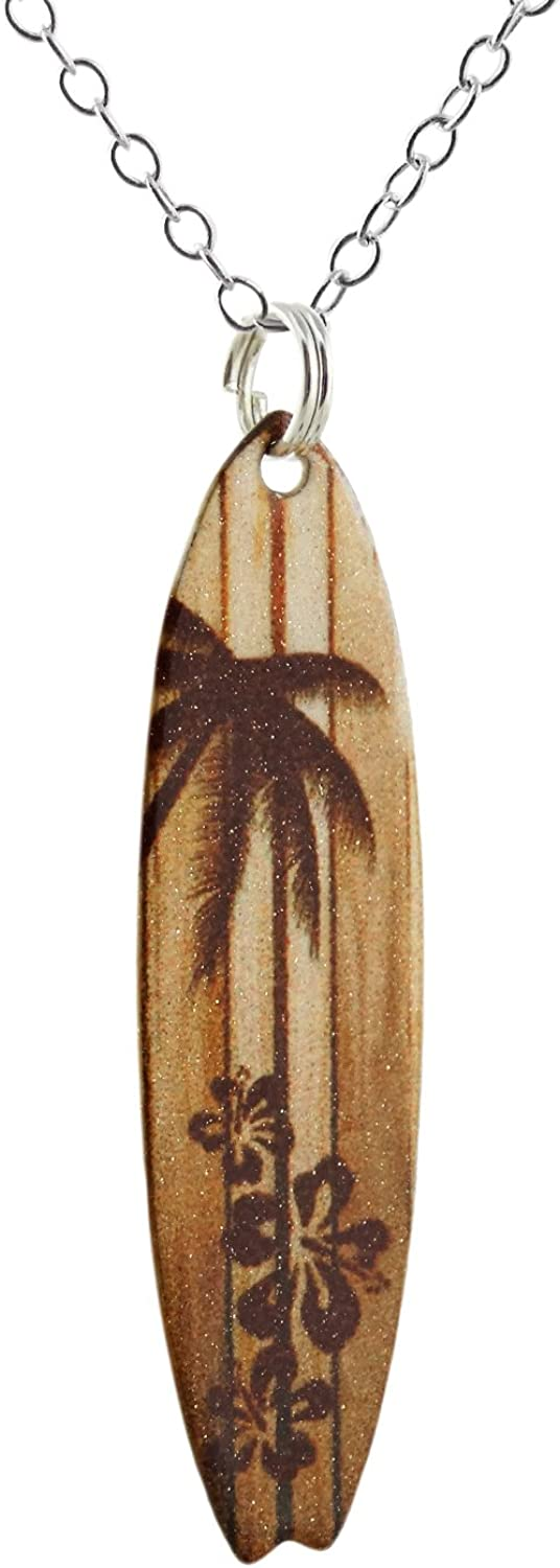 """FashionJunkie4Life Wood Grain Surfboard Coated Stainless Steel Pendant Necklace w/Palm Tree and Hibiscus 18"""" Sterling Silver Chain"""