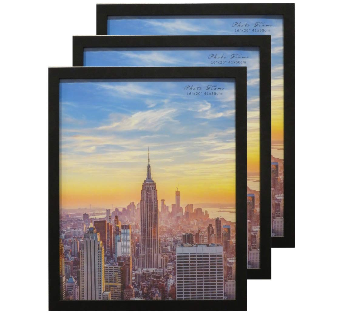 Frame Amo 16x20 Black Modern Wood Picture or Poster Frame, 1 inch Wide Border, 3-Pack by Frame Amo