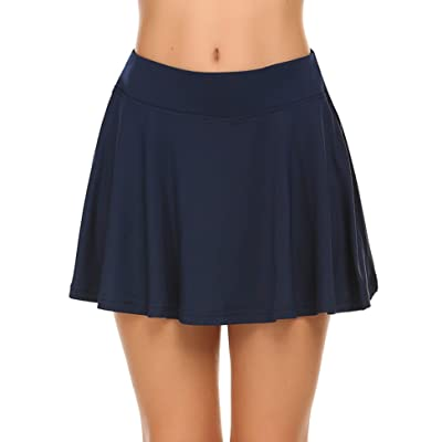 Ekouaer Women's Skorts Pleated Cute Skirts with Pocket Solid Color Sports Shorts at Women's Clothing store