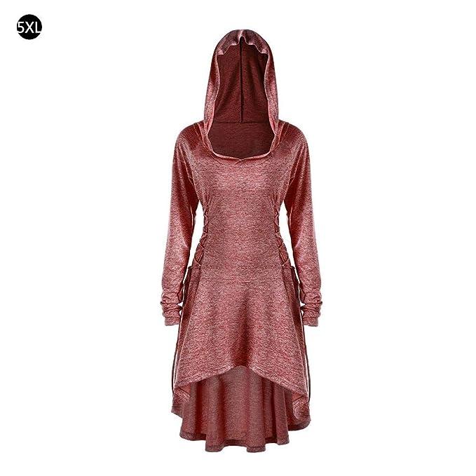 Moda para mujer Disfraces de Navidad Sudaderas con capucha Color sólido Manga larga con cuello en