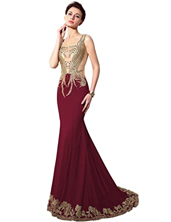 Sarahbridal Long Sexy Beaded Mermaid Prom Gowns Evening Dresses for Women SSY005 Burgundy UK18