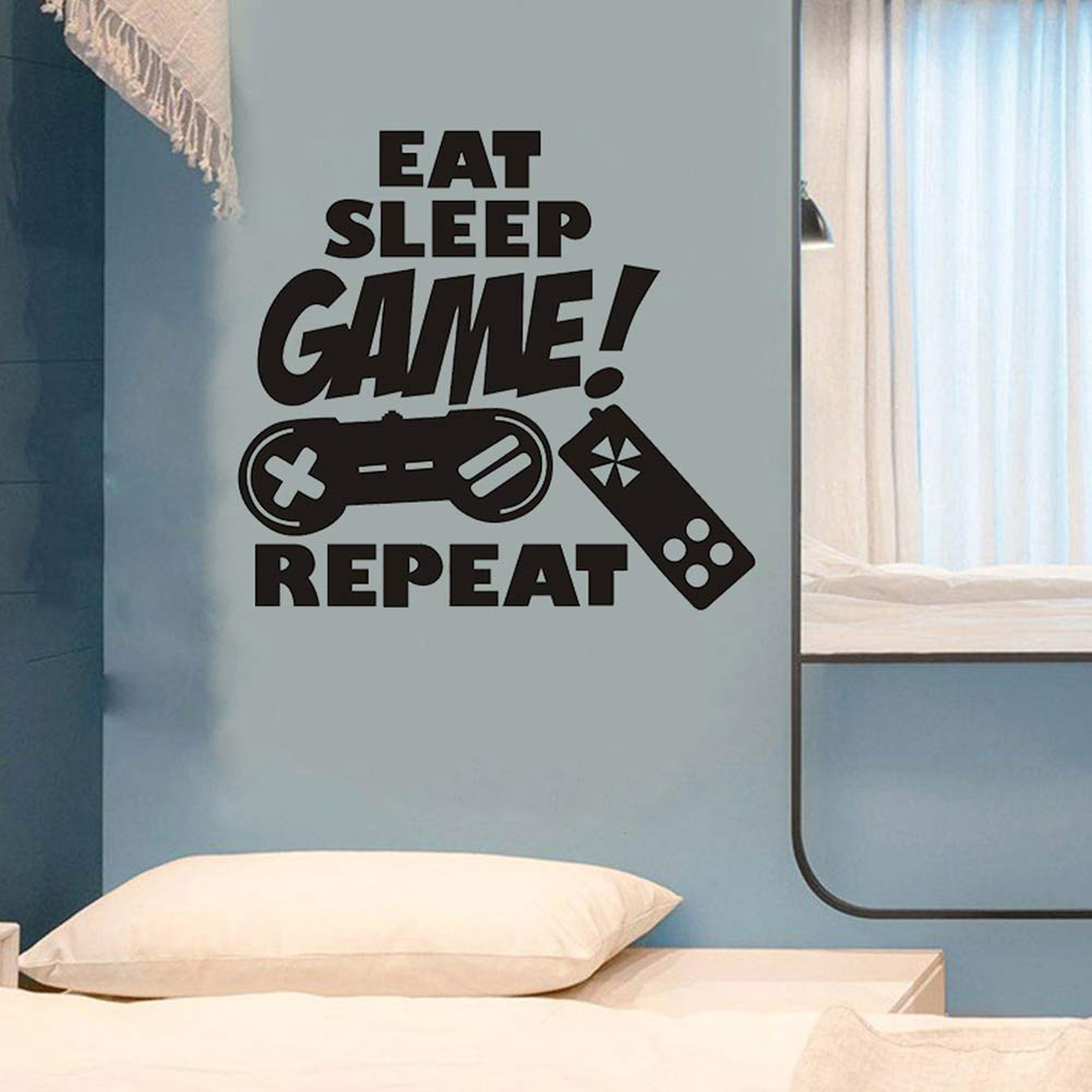 Gamer Decals for Boys Room, Creative Gaming Quote Eat Sleep Repeat Game Wall Sticker for Kids Room Boys Bedroom Playroom Wall Decor (Gamer Decal)