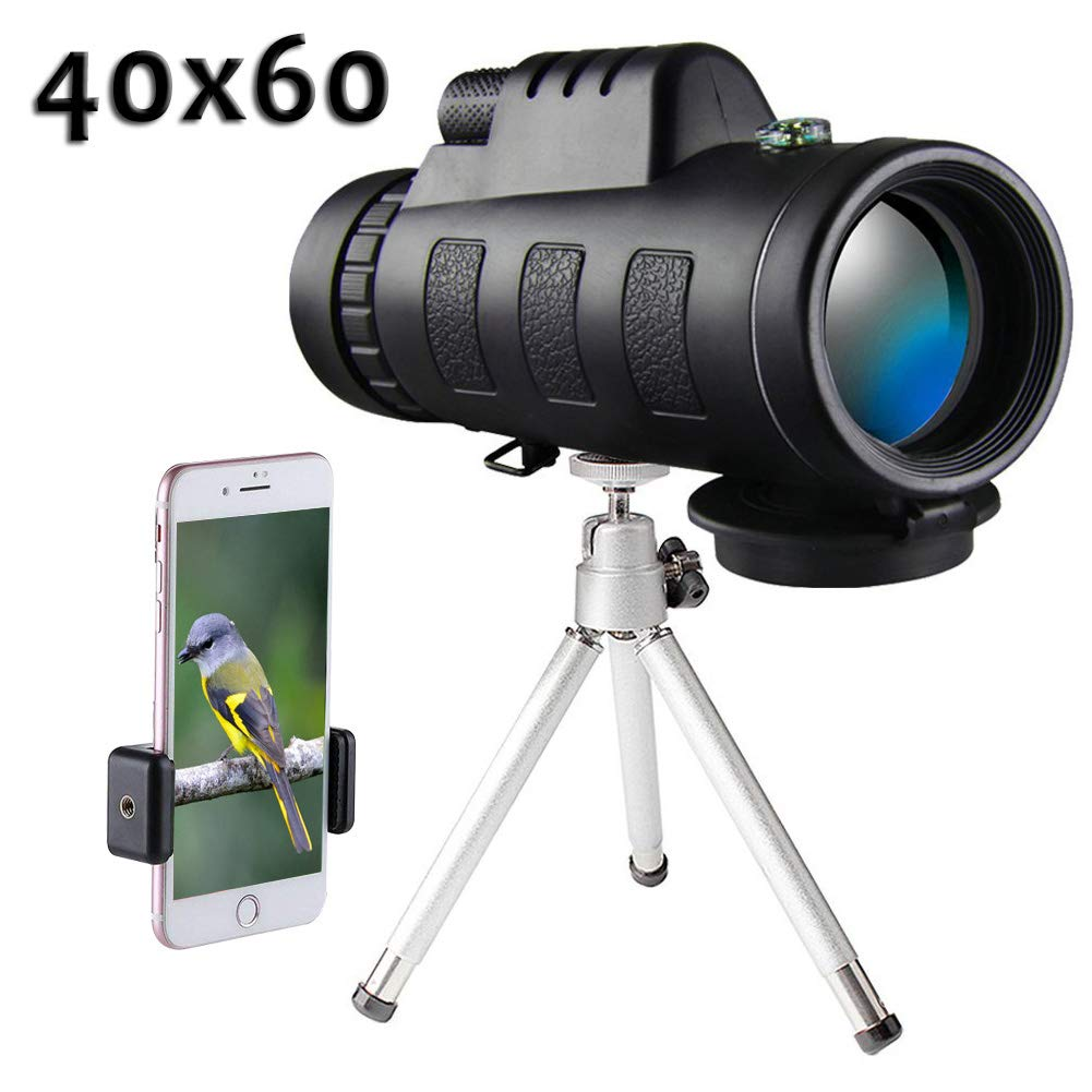 Monocular Telescope 40x60, High Power Monocular Scope Waterproof Telescope with Phone Clip and Tripod for Cell Phone for Bird Watching, Hunting, Travel