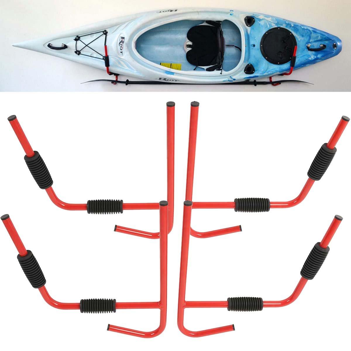 Tengchang 2 Pair Wall Mount Kayak Storage Rack Surfboard Steel Ladder Canoe Folding Hanger by Tengchang