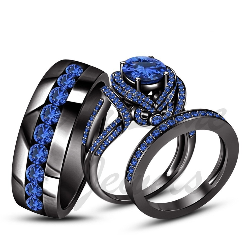 ArtLine Jewels Round Cut Blue Sapphire Solid 14K Black Gold Plted His & Her Engagement Trio Ring Set by ArtLine Jewels