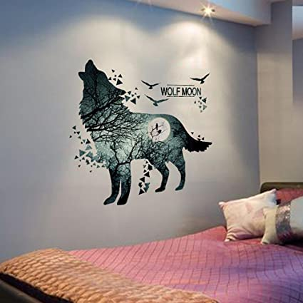 8dffcc17148 Image Unavailable. Image not available for. Color  Home decoration Wolf  Moon Wall Stickers ...