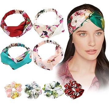Women Boho Elastic Turban Head Wrap Headband Flower Twisted Knotted Hair Band
