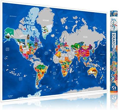 ENFY Mapa del Mundo para Rascar de Viajes - Grande Póster de Pared con Ilustraciones Artísticas Hechas a Mano - Rasca Los Países Visitados de Europa y EEUU - Con Adhesivos 3M