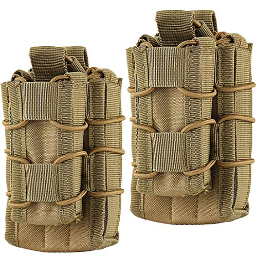 Hoanan Double Mag Pouch, Tactical Molle Magazine Pouch Open-Top Single Rifle Pistol Mag Pouch Cartridge Clip Pouch Hunting Bag (2pack-Upgrade Brown)